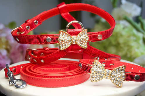 Luxury Ferrari Red Pet Harness, Collar & Leash Set