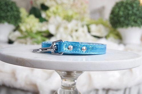 Luxury Leash Metallic Blue Vegan Leather
