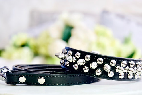 Luxury Triple Spike Black Pet Collar and Leash Set