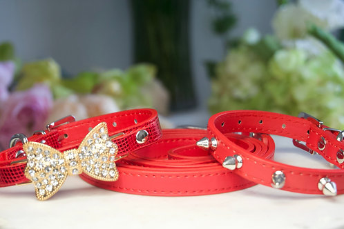 Luxury Ferrari Red 3 Piece Spike Collar Leash Set