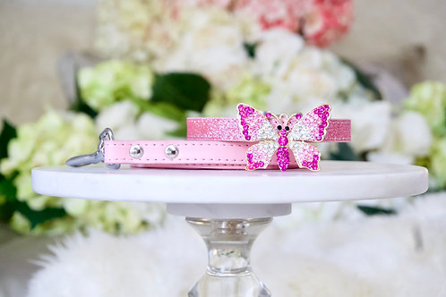 NEW! 2 Piece Set Majestic Pink Crystal Butterfly Pet Collar & Leash Set