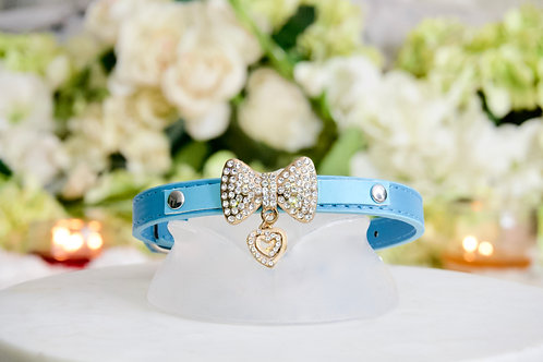 NEW! Luxury Blue Rhinestone Heart and Bow Pet Collar