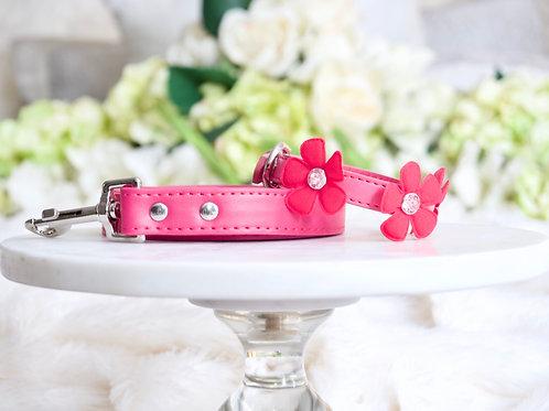 NEW! Luxury Hot Pink Fairy Flower Leash + Collar Set