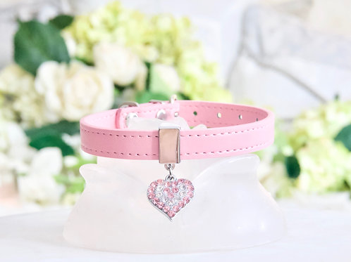 NEW! Luxury Baby Pink Crystal Heart Collar