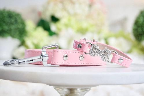 NEW! Luxury 2 Piece Set Matte Pink Rhinestone Bow Collar & Leash