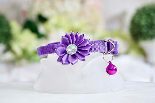 NEW! Luxury Unicorn Purple Crystal Flower Breakaway Pet Collar
