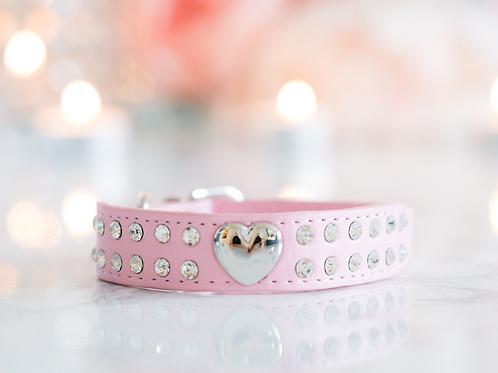 Luxury Princess Pink Heart Rhinestone Pet Collar