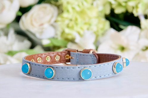 NEW! Luxury Ocean Blue Moonstone Pet Collar