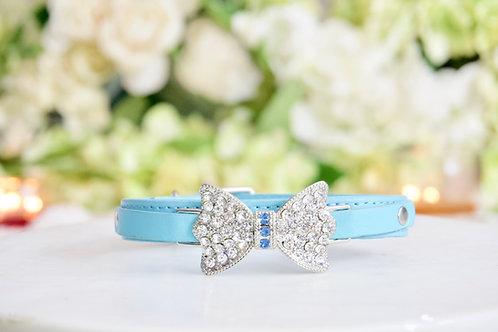 NEW! Luxury Matte Tiffany Blue Rhinestone Bow Pet Collar