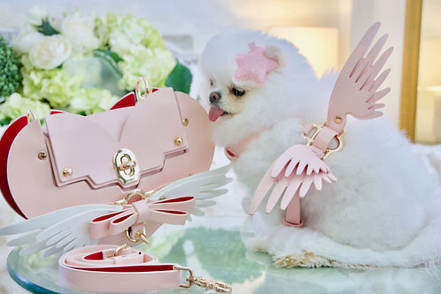 3 Piece Set - Luxury Angel Wing Harness Leash and Heart Purse - Cupid Pink