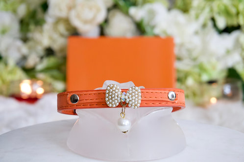 NEW! Luxury Classic Designer Orange Pearl Pet Collar