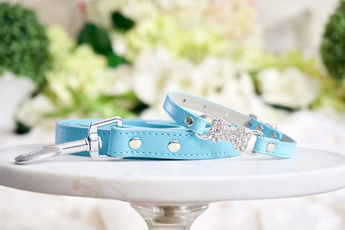 NEW! Luxury 2 Piece Set Tiffany Blue Thin Bone Collar & Leash