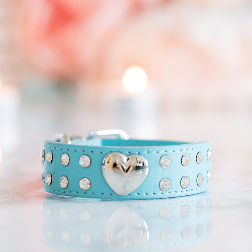 Luxury Tiffany Blue Heart Rhinestone Pet Collar
