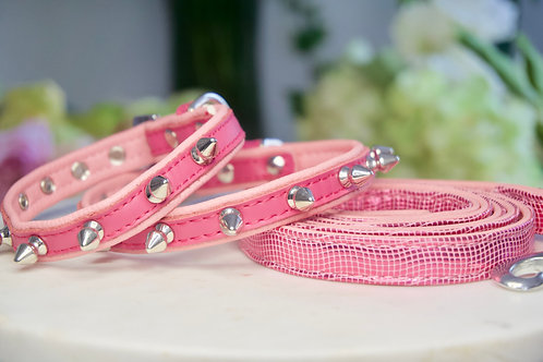 Luxury Hot Pink Spike Collar & Leash Set