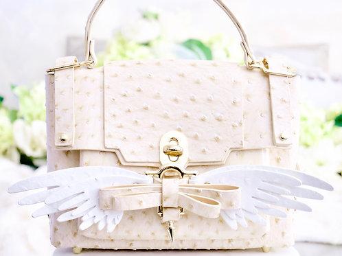 Luxury Beige Ostrich Angel Wing 4 Way Convertible Handbag Backpack