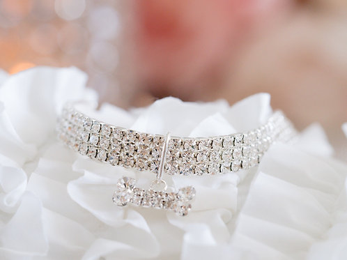 Luxury Silver Crystal Rhinestone Pet Collar