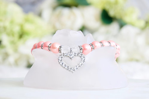 NEW! Luxury Princess Peach Heart Rhinestone Pearl Pet Collar