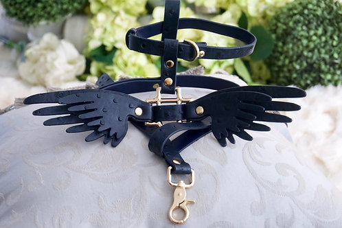 Luxury Angel Wing Harness & Leash Set - Dark Navy Ostrich