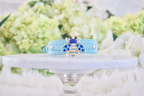 NEW! Queen Bee Tiffany Blue Crystal Pet Collar