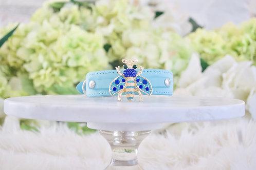 NEW! Queen Bee Tiffany Blue Crystal Pet Collar