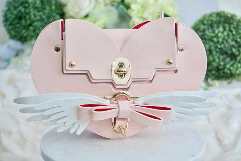 Luxury Angel Wing Pink Heart Handbag Tote Vegan Purse