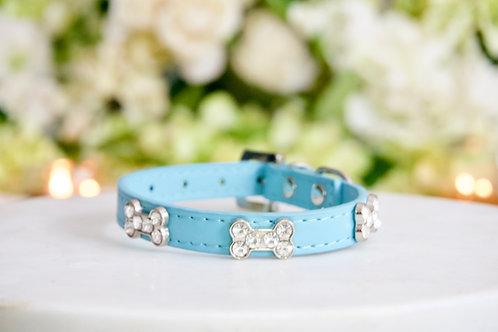 NEW! Luxury Tiffany Blue Rhinestone Dog Bone Collar Vegan