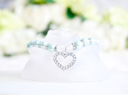 NEW! Luxury Light Blue Heart Rhinestone Pearl Pet Collar