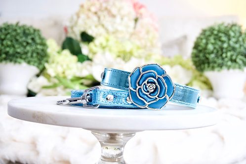 NEW! Luxury 2 Piece Set Mermaid Blue Rose Pet Collar & Leash