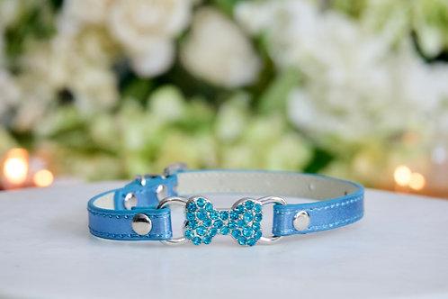 NEW! Luxury Metallic Blue Thin Bone Pet Collar