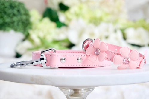 NEW! Luxury 2 Piece Set Fairy Flower Pink Rhinestone Pet Collar & Leash