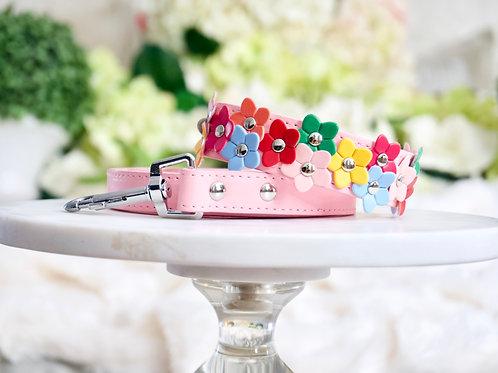 NEW! Luxury 2 Piece Set Pink Rainbow Daisy Pet Collar & Leash