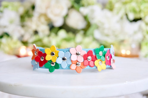 NEW! Luxury Tiffany Blue Rainbow Daisy Pet Collar