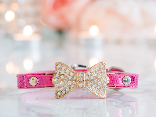 Luxury Hot Pink Rhinestone Pet Collar