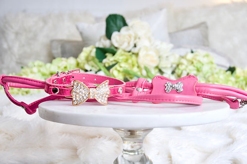 NEW! Luxury 3 Piece Set Hot Pink Magenta Pet Harness Leash and Collar Set