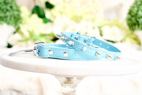 Luxury 2 Piece Set Tiffany Blue Spike Vegan Pet Collar & Leash