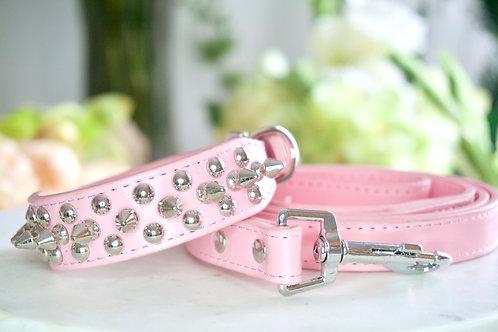 Luxury Triple Spike Matte Pink Pet Collar & Leash Set