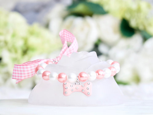 NEW! Luxury Pink Crystal Bone and Pearl Gingham Pet Collar