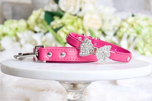 NEW! Luxury Leash + Collar Set Matte Magenta Pink Set