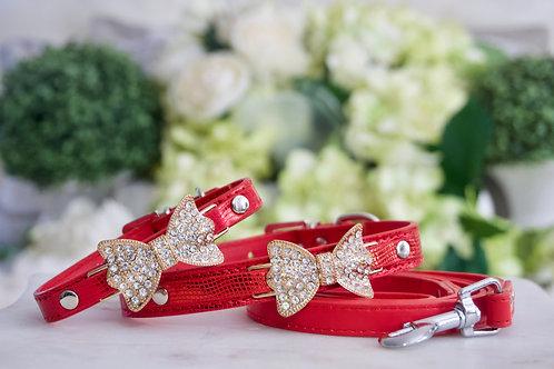 Luxury Leash + Collar Set, Ferrari Red