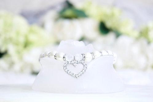 NEW! Luxury White Pearl Heart Rhinestone Pet Collar
