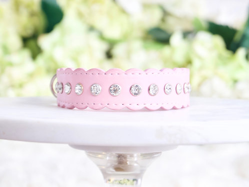 NEW! Luxury Scalloped Matte Pink Crystal Rhinestone Collar