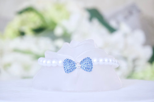 Luxury Blue Crystal Bow Tie Pearl Pet Collar