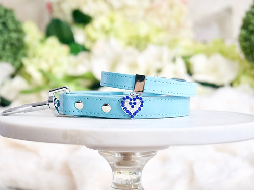 NEW! Luxury 2 Piece Set Tiffany Blue Crystal Heart Collar & Leash