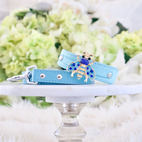 NEW! 2 Piece Set Queen Bee Tiffany Blue Crystal Pet Collar & Leash Set