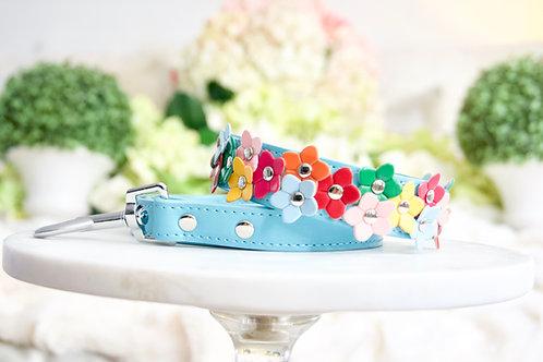 NEW! Luxury 2 Piece Set Tiffany Blue Rainbow Daisy Pet Collar & Leash