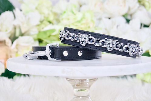 NEW! Crystal Jaguar Black Collar and Leash Set