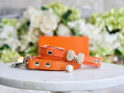 NEW! 2 Piece Set Luxury Classic Designer Orange Pearl Pet Collar + Leash Set
