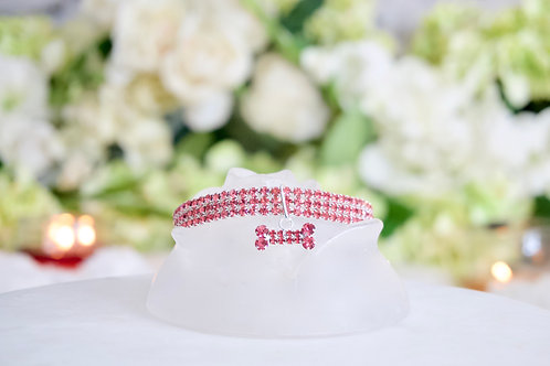 NEW! Luxury Solid Pink Crystal Rhinestone Pet Collar