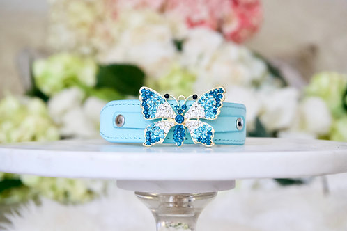 NEW! Majestic Tiffany Blue Crystal Butterfly Pet Collar