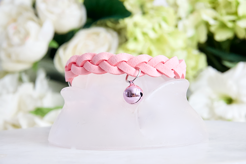 NEW! Luxury Petal Pink Braided Pet Collar